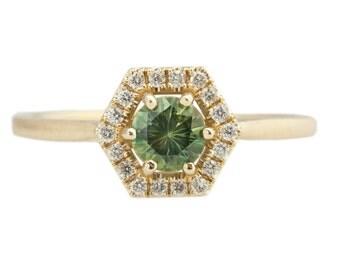 Hexagon Diamond Halo Ring with Green Sapphire