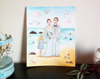 Beach Wedding Portrait - Honeymoon and Wedding custom Illustration - Mixed Media Illustration