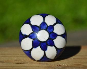 Ceramic knob/cabinet knob/dresser handle/drawer pull/door knob/navy/blue/white/large/flower/unique/decorative/bathroom/kitchen