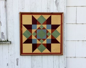 Handmade Wood Mosaic Barn Quilt Wall Hanging Country Rustic primitive folk art