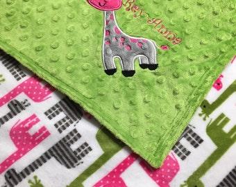Personalized Minky Baby Blanket, pink giraffe minky with jade green Minky, Giraffe Blanket, Monogrammed Blanket