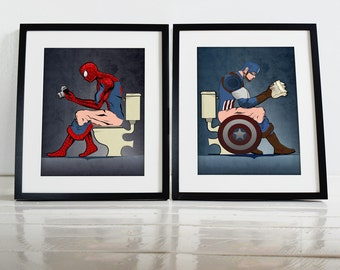 Captain America Wall Art batman and superhero on the toilet poster wall art prints