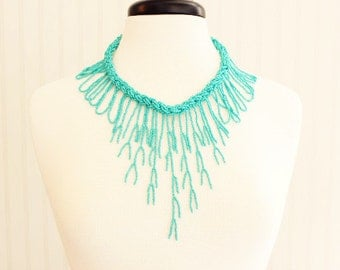 Turquoise Seaweed Beaded Necklace
