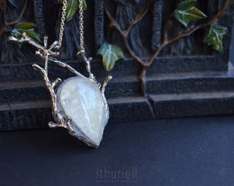 Moonstone Pendant - Winter's Heart, Silver Branches, Elven Necklace, Mermaid, Gift for Her, Witchy Choker, Faerie, Wiccan Amulet