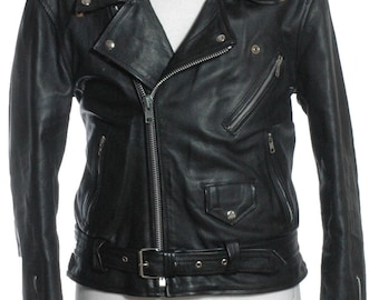 Vintage Black Leather Biker Jacket L - www.brickvintage.com