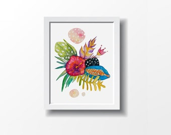 Exotic FLOWERS, spring art, pink, blue, yellow, purple, orange and black. Art print, illustration by Kim Durocher. Nature colorful theme.