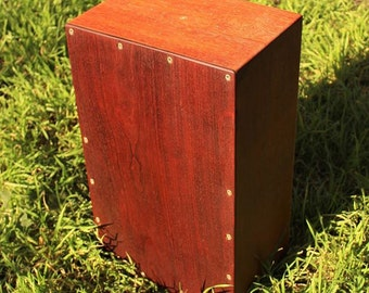 Handcraft fine quality Cajon Drum with snare made of hardwood Brazilian Jatoba and Mahogony with enlayed silver, brass and copper detail