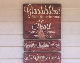 Grandchildren Fill A Place In Your Heart You Never Knew Was Empty, Fathers Day Gift, Mothers Day Gift, Grandparent Gift, Grandchildren Sign