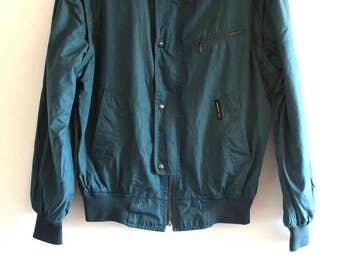 80's Vintage Europe Craft Teal Members Only Racing Bomber Jacket