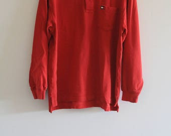 90's Vintage Men's Red Long Sleeve Pique Cotton Tommy Hilfiger Polo Shirt