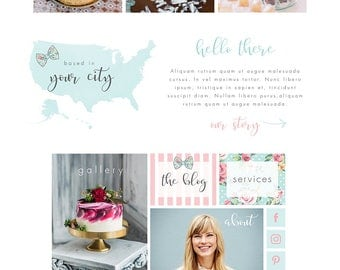 Wix Website template, website design, bakery website, cupcake, pink & blue, website template, logo design, wedding cake, bakery logo 4892