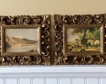 Vintage Gold Ornate Framed English Landscapes, Set of Two, TRUART PRODUCT, French Country, Cottage, Statement Wall Decor