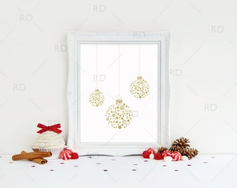 Gold and Silver Ornaments - PRINTABLE Wall Art / Christmas Printable / 2 for Price of 1! / Christmas Ornaments Printable / Xmas Ornaments