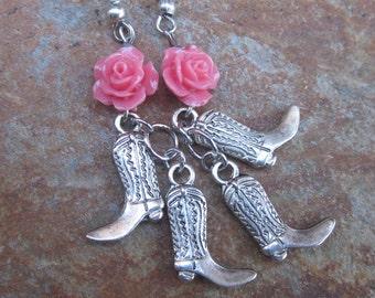 cowgirl earrings desert rose earrings silver cowboy / cowgirl boot earrings charms country wedding Lavish Lucy Designs dangle drop earrings