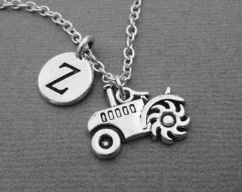 Tractor Necklace, Silver Farm Equipment Bangle Bracelet, Custom Farmers Tractor Necklace, Farming Jewelry, Gift for Farmer, Tractor Keychain