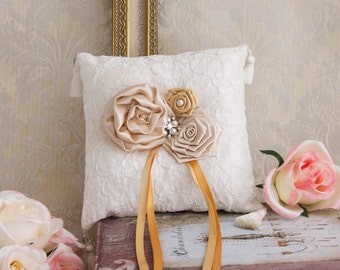 Wedding Ring Bearer Pillow, Champagne Wedding Ring Pillow, Gold Wedding Pillow, Champagne Bridal Pillow, Flower Girl Basket