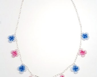 Flowers in the Mist - Recycled plastic and 925/1000 silver chain necklace