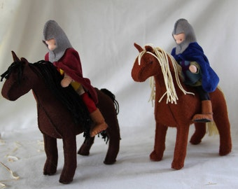 Custom order for one Knight with his horse as bendy  waldorf dollhouse dolls