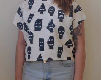 Hand drawn abstract face character print short sleeve top- S/M