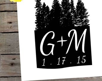 Trees Wedding Logo / Custom Couple's Initials and Date Bride & Groom / Forest Woodland Rustic Minimalist Digital Art File / Black and White