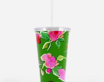 Acrylic Tumbler: Pink and Green Floral
