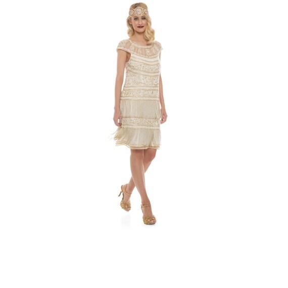 Ivory Gold Flapper Clara Fringe Dress 1920s Inspired Great