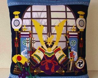 "Japanese Furoshiki Oriental 'Kabuto Samurai'  Cushion Cover 18.5"" x 19"""