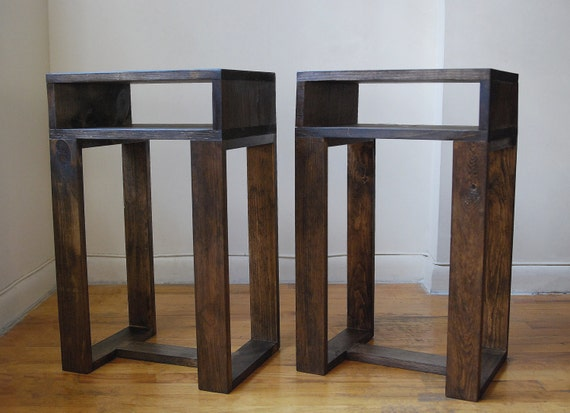 Pair of reclaimed wood thin side table with shelf by for Thin side table