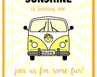 Little Miss Sunshine First Birthday Invitation