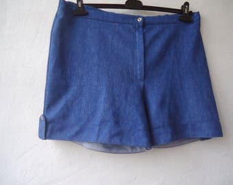 Vintage Shorts Women's Shorts  High Waisted Shorts Women Blue Retro Shorts