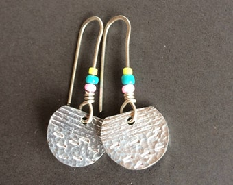 Small half moon handmade earrings with mixed beads
