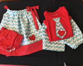 Matching Big Brother Little Sister Outfits Big Brother Applique Tie Shirt Little Sister Pillowcase Dress Newborn Pictures Coming Home Outfit