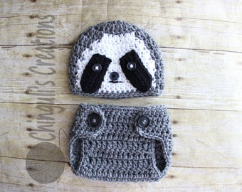 Baby Crochet Sloth Outfit Newborn Sloth outfit Baby Sloth Hat and Diaper Cover