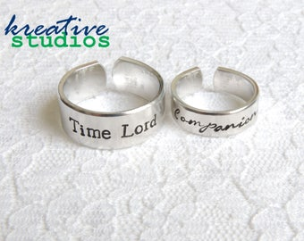 Time Lord Companion Ring Set - Hand Stamped, Doctor Who, Couples Set, Geronimo, Allons-y, Fantastic, Tardis, Geeky, Nerdy, Ring Set, 10, 11