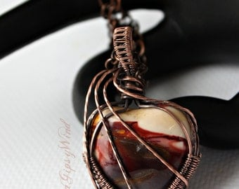 Carved Mookaite Heart Necklace Wire Wrapped