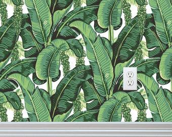 Sample: Banana Leaves Self-adhesive Removable Wallpaper