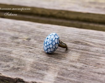 Faceted Boho Ring, Statement Ring, Boho Jewelry, Blue Boho Ring, Faceted Clay Ring, Navy Blue Ring, Statement Boho Ring, Statement Blue Ring