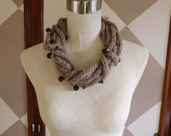 Handmade Alpaca Natural Beige Brown Tan Infinity Neck Scarf Collar Necklace with Brown Wood Beads, Neck Warmer, Gift for Her, Knit Necklace