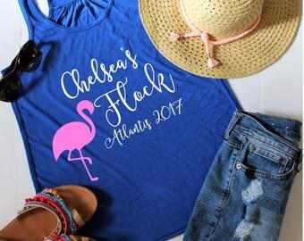 Bachelorette Party Shirts, FLOWY Racerback Tank, Customize Your Colors, Bachelorette Tank, Bachelorette Shirts, Flamingo Bachelorette