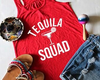 Tequila Squad Racerback Tank Top, XS-2XL, Cinco De Mayo Top, Funny Tank Top, Drinking Tank Top, Margarita Tank