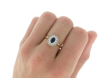 Vintage Sapphire Diamond Halo Engagement Ring