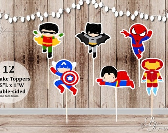 12 Action Boy Superhero Mix Toppers - Party Picks - Food Picks - Cupcake Toppers