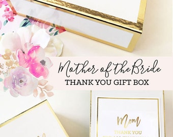 Mother of the Groom Gift from Son Mom Gift Basket Mother of the Bride Gift from Bride Thank You Mom Gift Box (EB3171BPW) EMPTY BOX