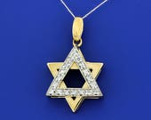 14K Yellow and White Gold Star of David