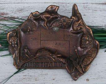 Vintage Copper Australia Souvenir Ashtray, Metal Australia Shaped Catchall, Vintage Souvenir Coin Dish, Collectible Souvenirs, Tobacciana