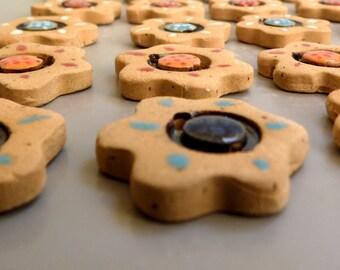 Set of 4, Flower buttons, Ceramic buttons, Hand made buttons, Red ceramic buttons, buttons Craft Supplies, Beading Supplies, Dolls supplies