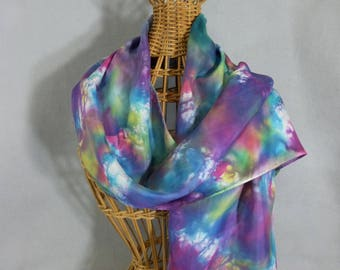 "Silk Scarf ""Rainbow Gala"", Hand Painted Silk Scarf, Rainbow Scarf"