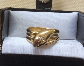 Antique Snake Ring  - Heavy 18ct Gold Diamond Snake Ring