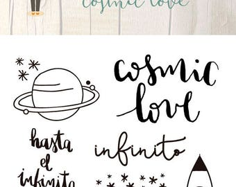 Clear Scrapbooking Stamp COSMIC LOVE in Spanish