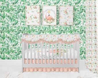 Floral Flamingo Crib Bedding Set. Toddler Sheet. Baby Bedding. Flamingo Baby Bedding. Flamingo Bedding Set. Monstera Palm Wallpaper.